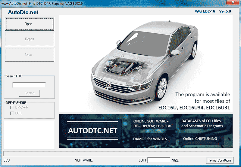 EGR, DPF, DTC Removal Software for VAG/PSA ECU(Bosch)